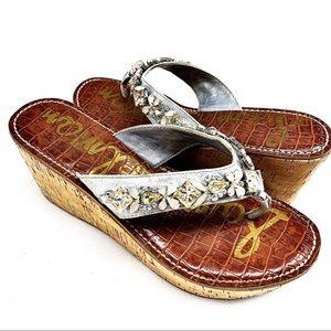 Sam Edelman Leather Wedge Sandals Jewels Stones